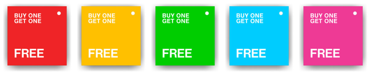 Pack of 5 square product tags for buy one get one free with gently rounded type and different background colours