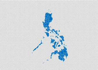 philippines map - High detailed blue map with counties/regions/states of philippines. philippines map isolated on transparent background.