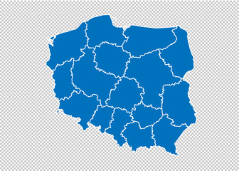 poland map - High detailed blue map with counties/regions/states of poland. poland map isolated on transparent background. Wall mural