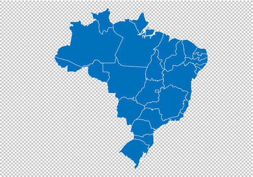 brazil map - High detailed blue map with counties/regions/states of brazil. brazil map isolated on transparent background.