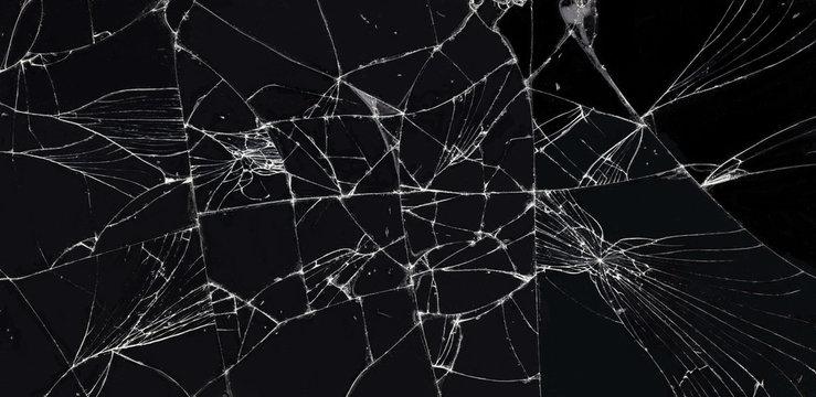 broken glass dark background texture, Cracked touch screen phone.