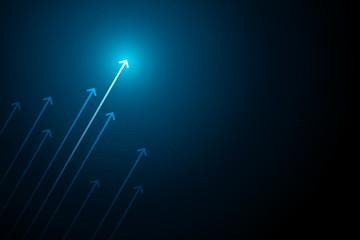 Blue light arrows up on black background, copy space composition, business grow concept. Fototapete