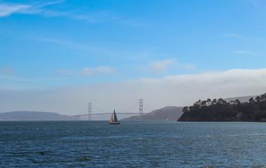 Poster Voile sailing ship in sea outside coastal town of Tiburon, California