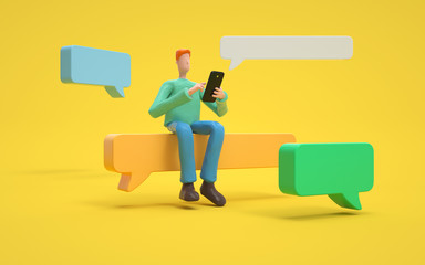 A man sends sms.communication or  social media concept.  3d rendering,conceptual image.