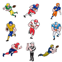 Set or Collection of cartoon character style illustration of American football player in different roles like quarterback, running back, center, wide receiver,tackle, guard and referee on isolated.