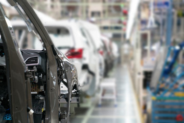 Production line for manufacturing of the car body in the car factory. Car factory. Car parts. Body factory. New body factory. Car body on line.