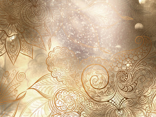 Metallic bronze background with mandala decorations and beautiful lights effects.