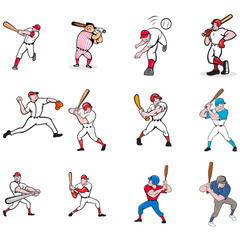 Set or collection illustration of American baseball player, pitcher or batter, batting, pitching or throwing ball cartoon style isolated on white background.