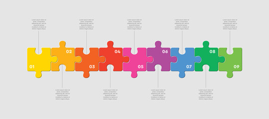 Nine pieces jigsaw puzzle squares line infographic