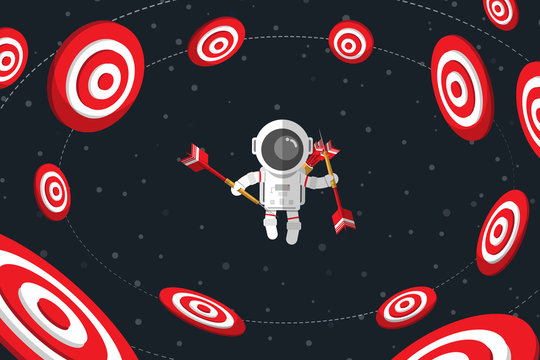 Flat design, Astronaut holding darts while floating on space among red dartboard, Vector illustration, Infographic Element