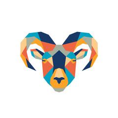 Geometric polygonal ram. Abstract colorful animal head. Vector illustration.