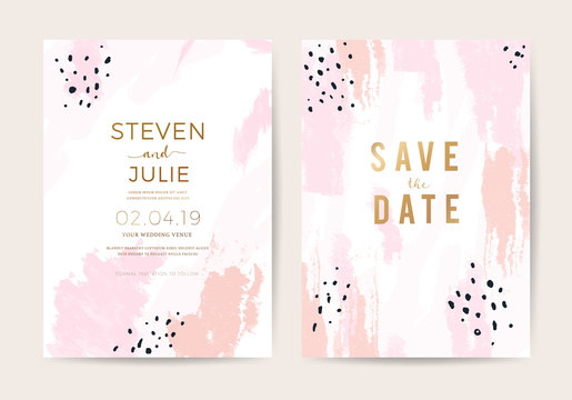 Minimal wedding invitation card design template with pink and rose gold brush texture. vector