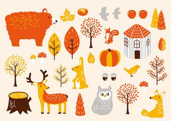 秋セット 秋の動物たち Wall mural