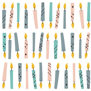 Candles, hand drawn seamless pattern. Colorful background vector. Decorative cute wallpaper, good for printing. Overlapping backdrop design