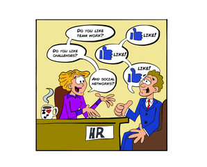 Job interview about social networks