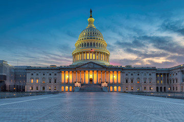 The United States Capitol building at sunset, Washington DC, USA. Wall mural