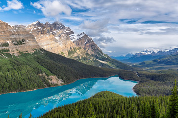 Morning view of Peyto Lake in Banff National Park, Canada.