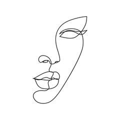 Door stickers One Line Art Woman face line drawing art. Abstract minimal female face icon, logo