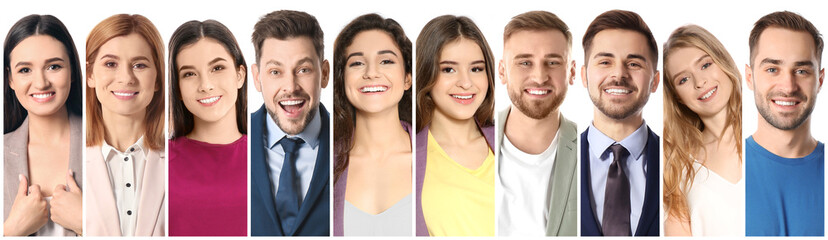 Collage of smiling people on white background. Banner design