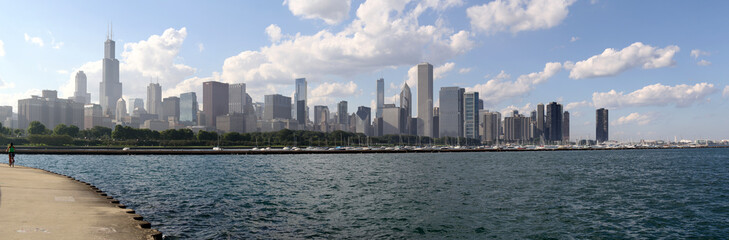 The beautiful picture of Chicago downtown , view from Adler planetarium