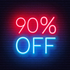 Fototapete - 90 percent off neon lettering on brick wall background