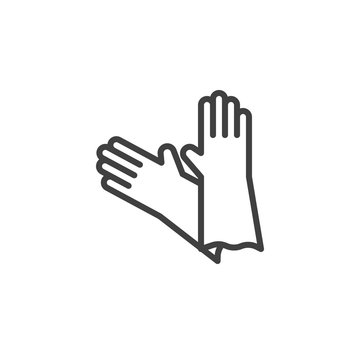 Latex gloves line icon. linear style sign for mobile concept and web design. Protective rubber gloves outline vector icon. Symbol, logo illustration. Vector graphics