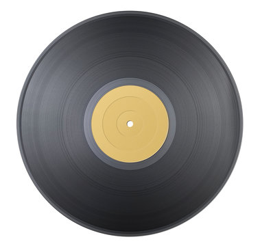 Old classic vinyl record with yellow label isolated on white background