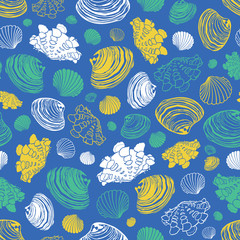 Vector blue repeat pattern with variety of clam seashells. Perfect for greetings, invitations, wrapping paper, textile, wedding and web design.