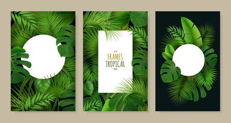 Tropical Leaves Frames Set