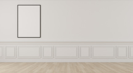 Perspective of white empty room and laminate floor with blank space of picture frame,classic interior style. 3D rendering