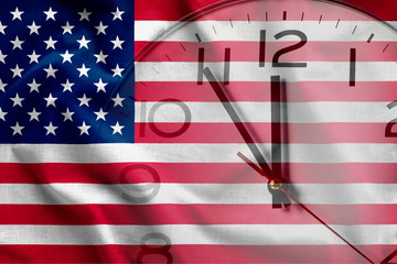 Composite image of clock and American flag