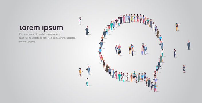 people crowd gathering in chat bubble speech icon shape social media communication concept different occupation employees group standing together full length horizontal copy space