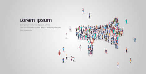 people crowd gathering in loudspeaker megaphone shape social media community announcement concept different occupation employees group standing together full length horizontal copy space Wall mural