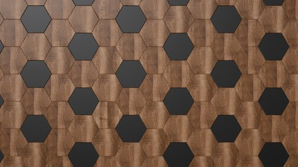 Papiers peints Géométriquement Dark wood background. Black and brown hexagonal panels.