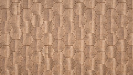 Poster Geometric Elegant background of wooden hexagons.