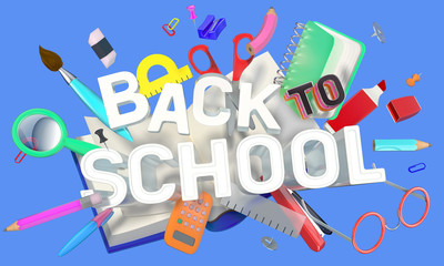 colorful composition with school related objects and Back-to-School text