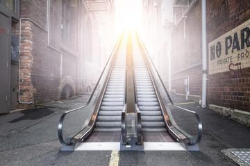 Modern escalator to sunny sky