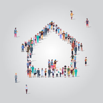 people crowd gathering in home icon shape social media community house building concept different occupation employees group standing together full length