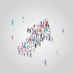 people crowd gathering in shape of financial arrow up symbol social media community successful growth concept different occupation employees group standing together full length