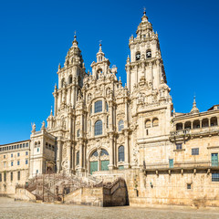 View at the Glory Portal of Cathedral in Santiago de Compostela - Spain