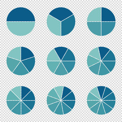 Pie Charts - .Different Subdivisions - Vector Illustration - Isolated On Transparent Background