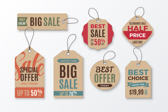 Set of cardboard sale tags with text - Big Sale, Special Offer, Half Price, Best Choice. Vector vintage labels for design of promotional banners and discount flyers. Isolated from background.
