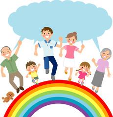 Poster de jardin Arc en ciel 走る三世代家族