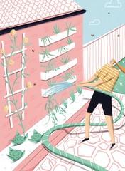 Illustration of woman watering plants