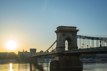 Budapest cityscape with Chain Bridge and Danube River in Hungary