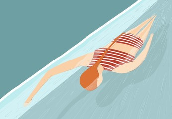 Illustration of woman swimming in sea