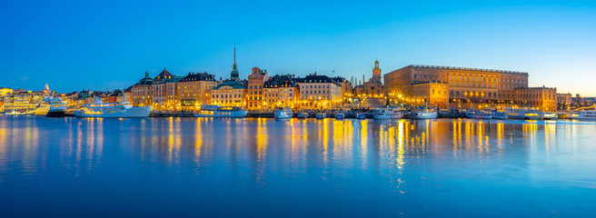 Panorama view of Gamla Stan at night in Stockholm city, Sweden