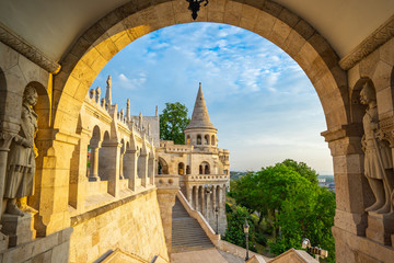 Tuinposter Boedapest Tower of Fisherman's Bastion in Budapest city, Hungary