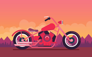 Flat vector classic motorcycle on color background