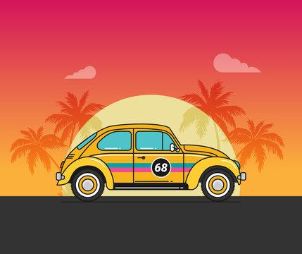 Vector illustration flat old car on beach